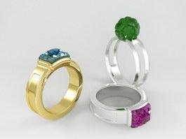 Gemstone Rings 3d preview
