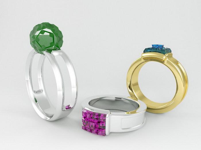 Gemstone Rings 3d rendering