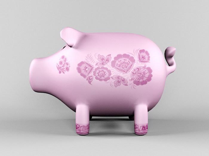 Clay Pig Sculpture 3d rendering
