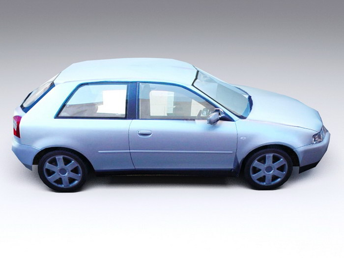 Audi A3 Low Poly 3d rendering