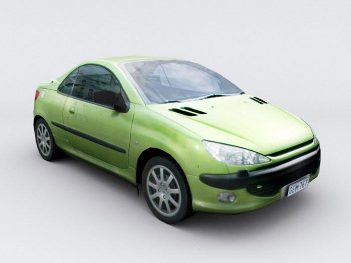 Old Green Car 3d rendering