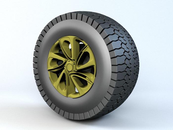 Lorry Wheel 3d rendering