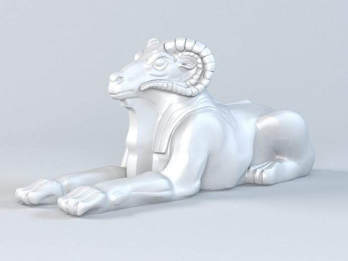 Goat Sculpture 3d rendering