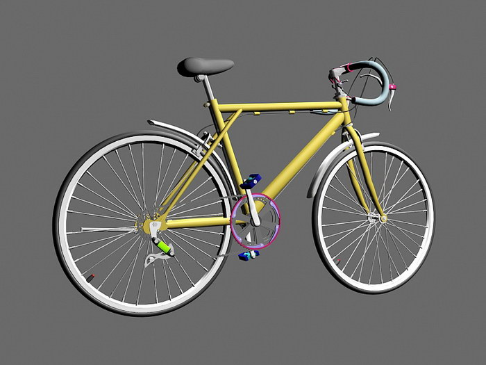 Yellow Racing Bicycle 3d rendering