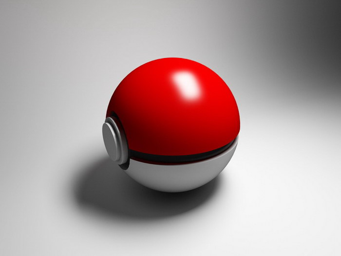 Poke Ball 3d rendering