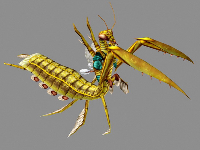 Gold Mantis Animated 3d rendering