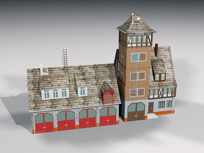 Fire Station Architecture 3d rendering
