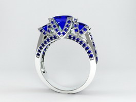 White Gold Sapphire Ring 3d preview