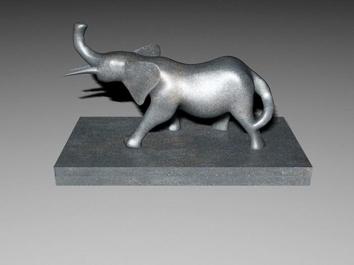 Vintage Elephant Statue 3d rendering