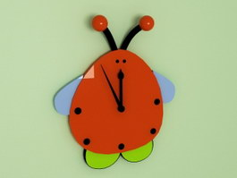 Ladybugs Beetle Wall Clock 3d preview