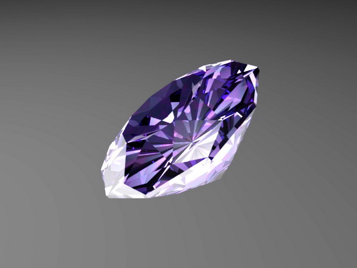 Fancy Purple Diamond 3d rendering