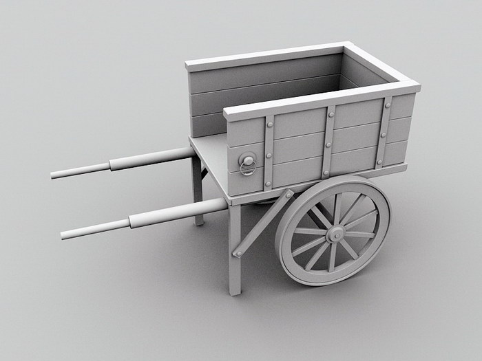 Vintage Wooden Wagon 3d rendering