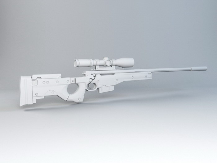 AWM L115A3 Sniper Rifle 3d rendering