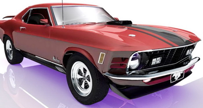Ford Mustang Mach 1 Muscle Car 3d rendering
