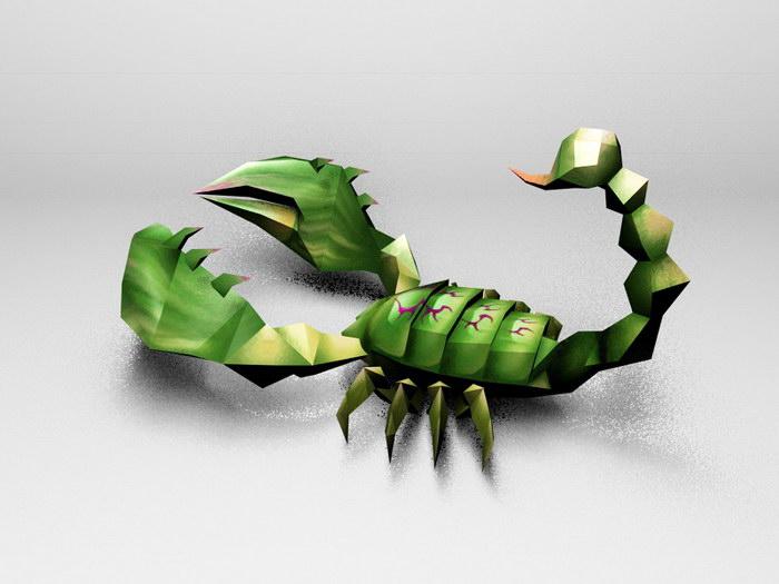 Green Scorpion 3d rendering