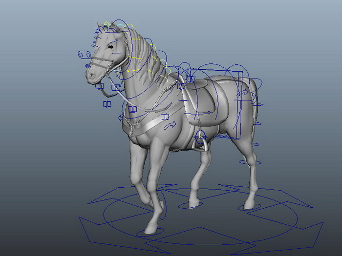 Animated Horse Walking 3d rendering