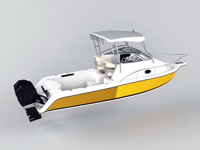 Small Cabin Motorboat 3d rendering