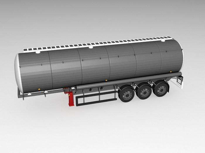 Oil Tank Truck Trailer 3d rendering
