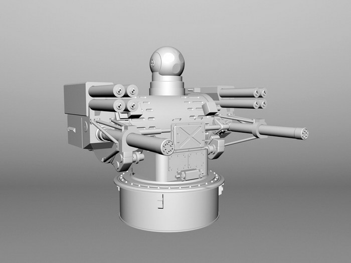 Warship Automated Anti-aircraft Warfare System 3d rendering