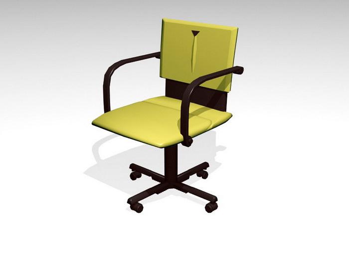 Yellow Swivel Chair 3d rendering