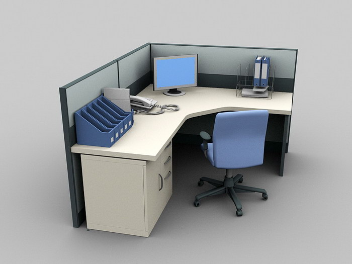 Cubicle Office Furniture 3d rendering