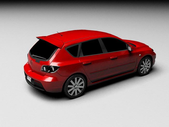Red Mazda Car 3d rendering