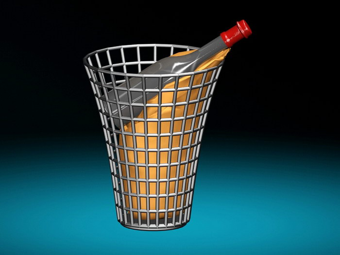 Wine Basket 3d rendering