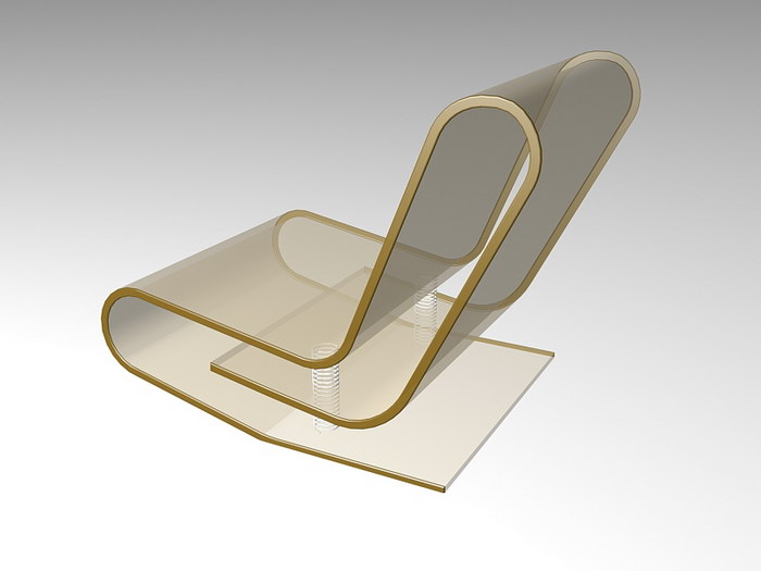 Transparent Acrylic Chair 3d rendering