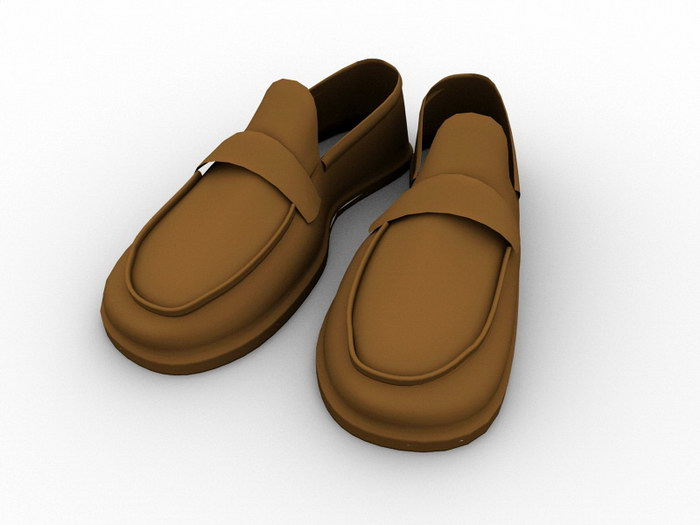 Leather Boat Shoes 3d rendering