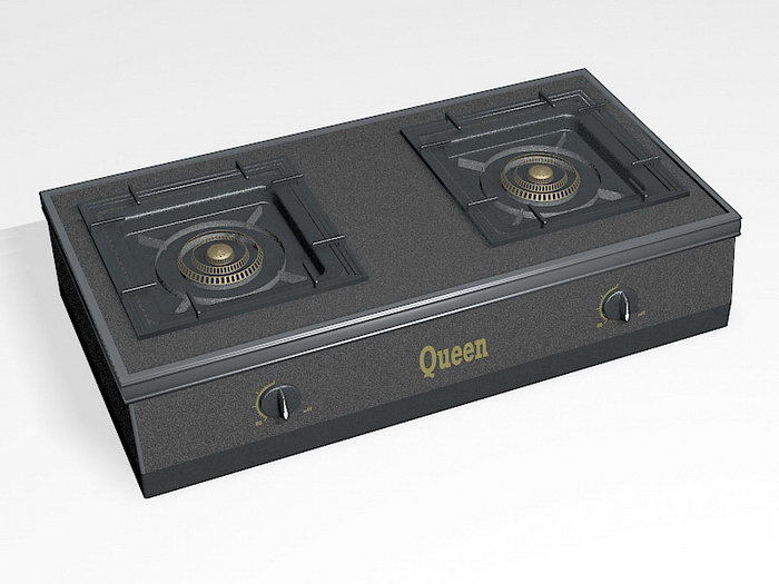 2 Burner Gas Stove Cooktop 3d rendering