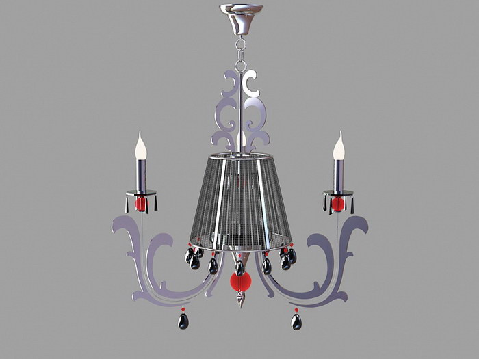 Chrome Chandeliers for Dining Room 3d rendering