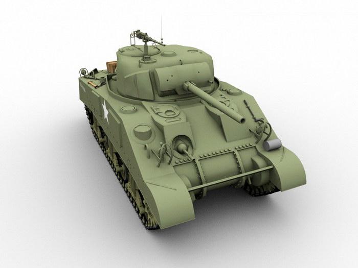 M4A3(75)W Medium Tank 3d rendering