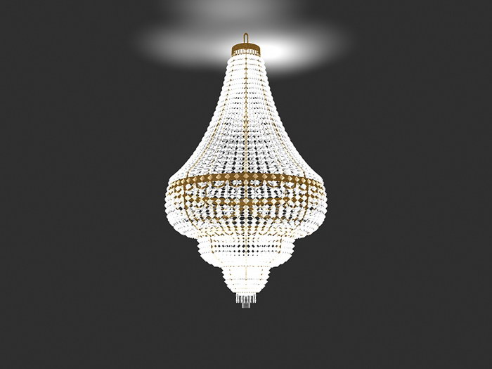 Fancy Crystal Chandelier 3d rendering