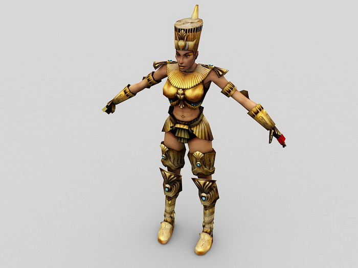 Ancient Egyptian Female Soldier Rig 3d rendering
