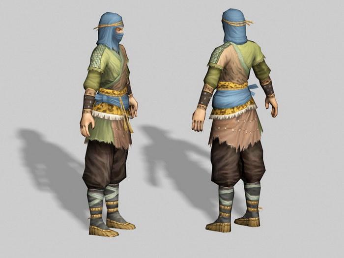 Medieval Robber 3d rendering