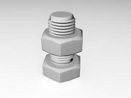 Hexagon Nut Bolt 3d model