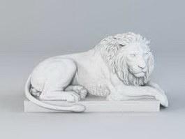 Laying Lion Statue Garden Sculpture 3d preview