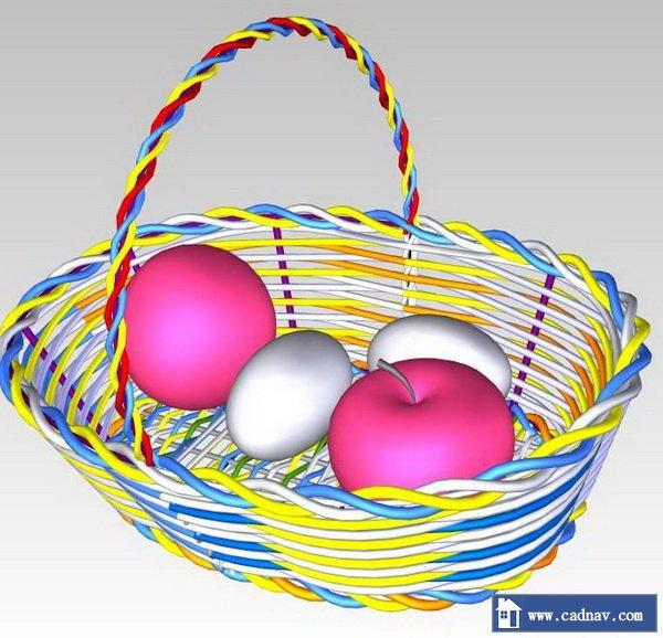 Iron flower basket model 3d rendering