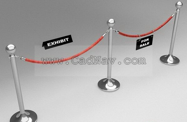 Museum Barrier Rope 3d rendering