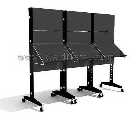 Metal display rack magazine rack 3d rendering