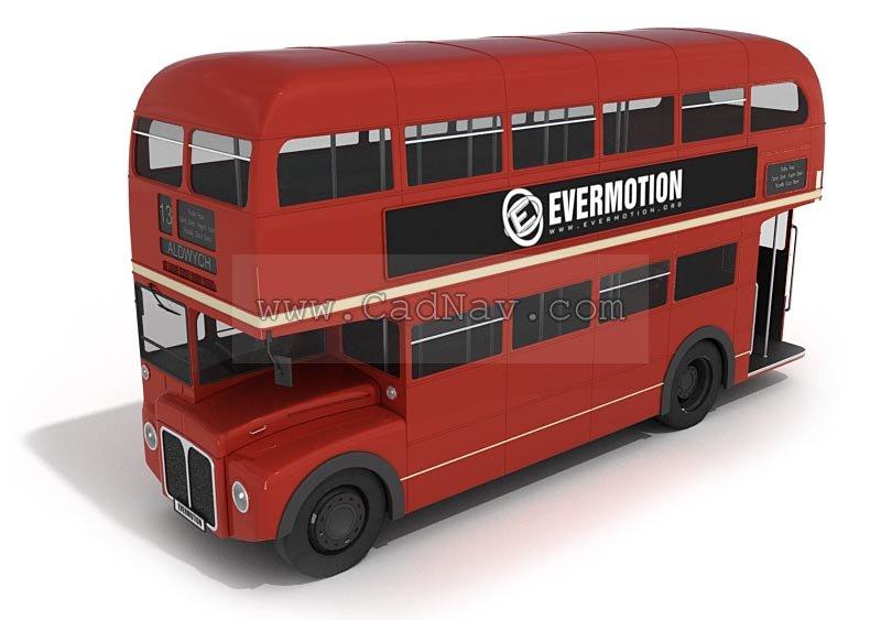 Double-decker bus 3d rendering