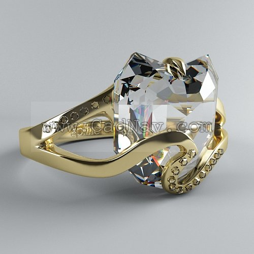 Diamond ring 3d rendering
