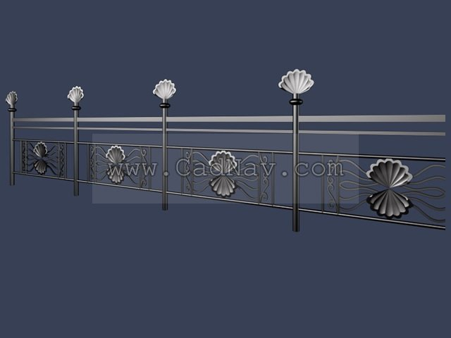 Wrought iron staircase railing 3d model 3Ds Max files free ...