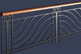 Metal stair handrail 3d model preview