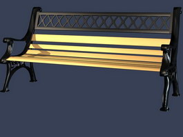 Outdoor bench chair(metal) 3d preview