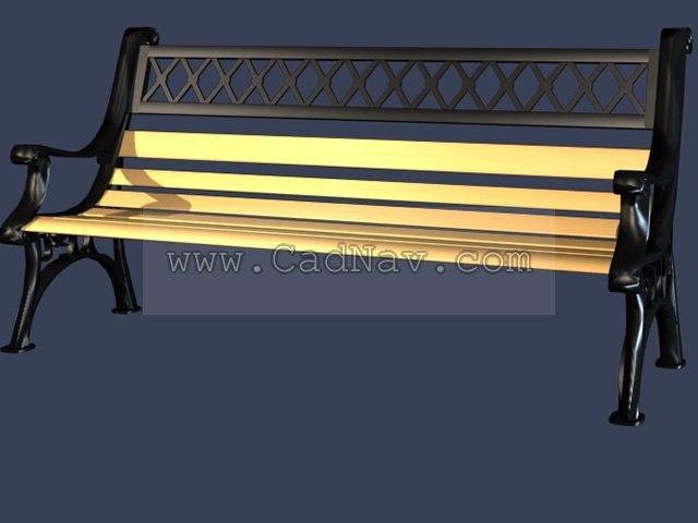 Outdoor bench chair(metal) 3d rendering