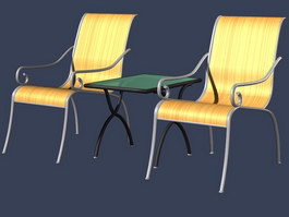 Leisure garden chairs and table 3d preview