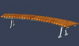 Casual wood bench for park 3d preview