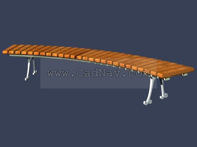 Casual wood bench for park 3d rendering