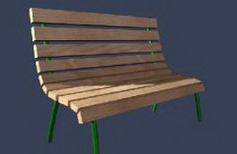 Outdoor Community Wooden Benches 3d preview